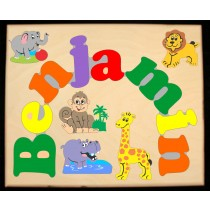 ** NEW 2018 ** Custom Name(s) Jungle (Zoo) Animals Theme Puzzle in upper and lower case letters - Primary or Pastel, (FREE SHIPPING)