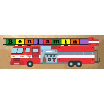 Personalized Name Long Fire Truck Theme Puzzle - (FREE SHIPPING)