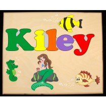 Custom Name(s) Mermaid Theme Puzzle in upper and lower case letters - Primary or Pastel (FREE SHIPPING)