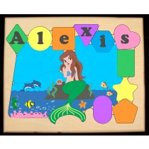 Personalized Name Mermaid Theme Puzzle - Pastel (FREE SHIPPING)