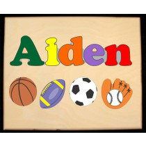 Custom Name(s) Sports Theme Puzzle in upper and lower case letters - Primary or Pastel, (FREE SHIPPING)