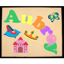 Custom Name(s) Princess Theme Puzzle in upper and lower case letters - Primary or Pastel, (FREE SHIPPING)