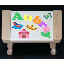 Custom Name Princess Theme Puzzle Stool in upper and lower case letters - Primary or Pastel (FREE SHIPPING)