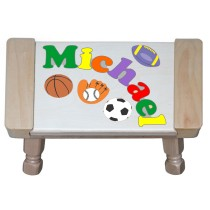 Custom Name(s) Sports Theme Puzzle Stool in upper and lower case letters - Primary or Pastel (FREE SHIPPING)