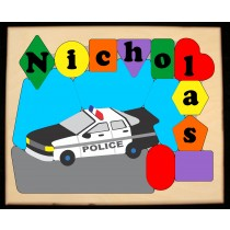 Personalized Name Police Car Theme Puzzle - (FREE SHIPPING)