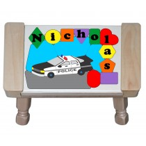 **UPDATED 2018** Personalized Name Police Car Theme Puzzle Stool - (FREE SHIPPING)