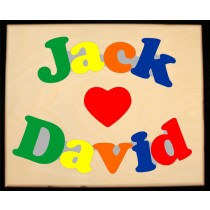 Custom 2 Name Puzzle with a Heart in the center - Primary or Pastel, (FREE SHIPPING)