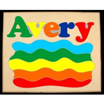 Custom Name Rainbow Puzzle in either Primary or Pastel, (FREE SHIPPING)