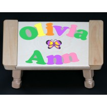 Custom 2 Name Puzzle Stool with a Heart or Butterfly in the Center -  Primary or Pastel (FREE SHIPPING)