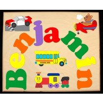 Custom Name(s) Plane Train Automobile Theme Puzzle in upper and lower case letters - Primary or Pastel, (FREE SHIPPING)