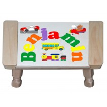 Custom Name(s) Plane Train Automobile Car Theme Puzzle Stool in upper and lower case letters - Primary or Pastel (FREE SHIPPING)