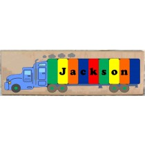 Personalized Name Long 18 Wheeler Semi Truck Theme Puzzle - (FREE SHIPPING)