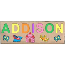 LONG CUSTOM NAME PRINCESS THEME PUZZLE - PRIMARY OR PASTEL, (FREE SHIPPING)