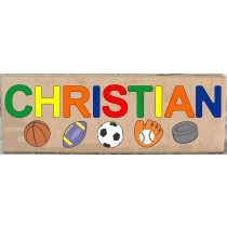 LONG CUSTOM NAME SPORTS THEME PUZZLE - PRIMARY OR PASTEL, (FREE SHIPPING)