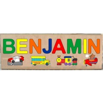 LONG CUSTOM NAME (PLANE, TRAINS & AUTOMOBILE) THEME PUZZLE - PRIMARY OR PASTEL, (FREE SHIPPING)