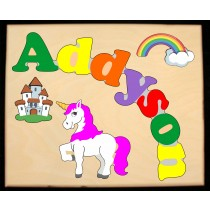Custom Name(s) Unicorn Theme Puzzle in upper and lower case letters - Primary or Pastel (FREE SHIPPING)