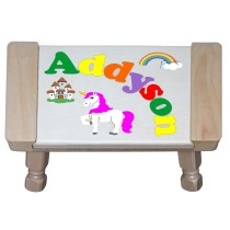Custom Name(s) Unicorn Theme Puzzle Stool in upper and lower case letters - Primary or Pastel (FREE SHIPPING)