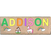 LONG CUSTOM NAME UNICORN THEME PUZZLE - PRIMARY OR PASTEL (FREE SHIPPING)